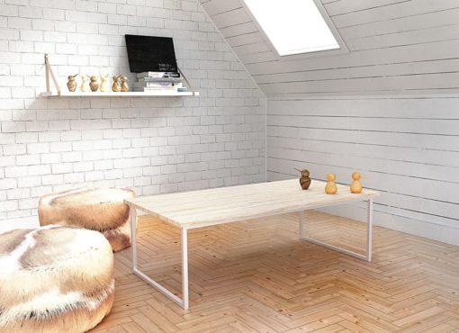 Design nawiązujący do stylu skandynawskiego oraz naturalne materiały to główne cechy obrazujące stolik BASIC EN. Jest on przykładem harmonijnego połączenia stali i drewna oraz zastosowanej stonowanej kompozycji przyjemnych jasnych kolorów.