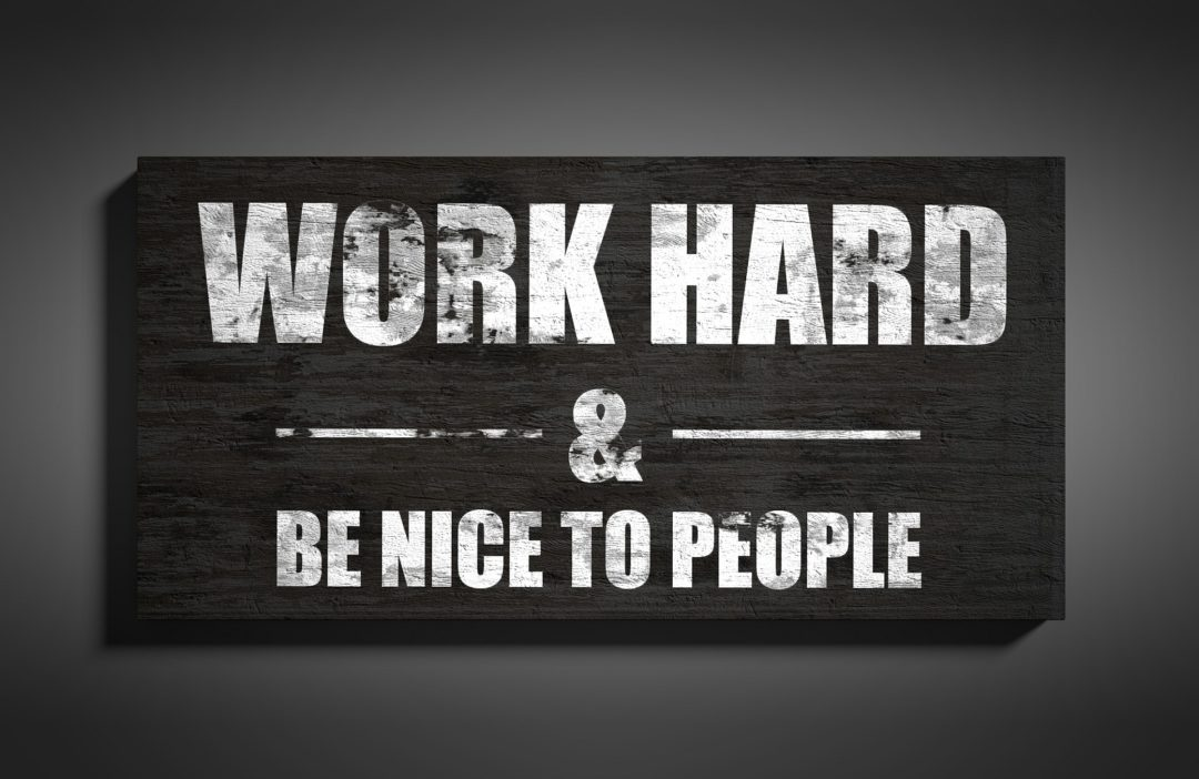 "Tablica – ""WORK HARD"""