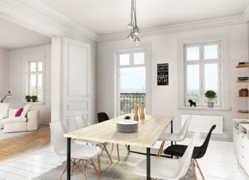 Stół minimalistyczny Basic Fyra w ujęciu w jadalni w skandynawskim stylu. Jasny charakter wnętrza i pozostałego wyposażenia eksponuje walory stołu Basic Fyra. Biały kolor blatu nie tworzy jednolitej warstwy, dzięki czemu widoczny jest delikatny rysunek drewna. Drewno jest delikatnie strukturyzowane. Stół minimalistyczny Basic Fyra produkowany jest ręcznie, zgodnie ze sztuką rzemieślniczą. Jego rama wykonana jest ze stali i malowana na kolor czarny. Pod ręką można wyczuć delikatną, matową teksturę. Think simple. Think natural.