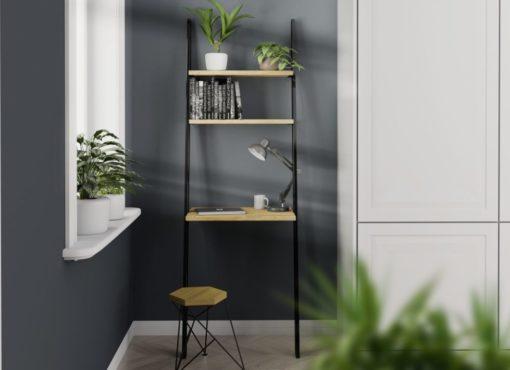Biurko BELLO BLACK. Biurko zajmuje niewiele miejsca i będzie pasować nawet w małych wnętrzach. W łatwy sposób można stworzyć funkcjonalne domowe biuro nawet w salonie czy sypialni. Sprawdzi się świetnie jako miejsce do pracy na laptopie. Jest bardzo wygodne i praktyczne.