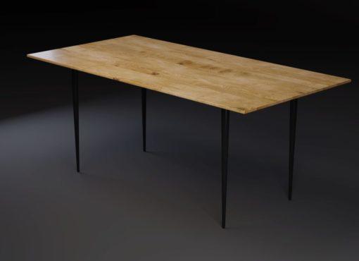 Stół nowoczesny BLACK MAGIC z dębowym blatem i metalowymi nogami. Prostokątny blat z frezowanym kantem.