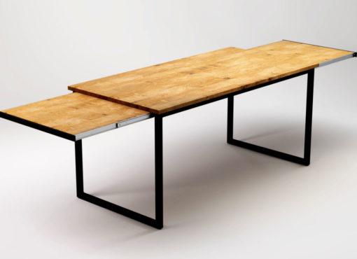 Stół funkcjonalny, rozkładany z czarnymi nogami ze stali i drewnianym blatem. Po rozłożeniu jest miejsce przy stole dla 8 lub 10 osób. Praktyczne rozwiązanie. Wygodny stół.