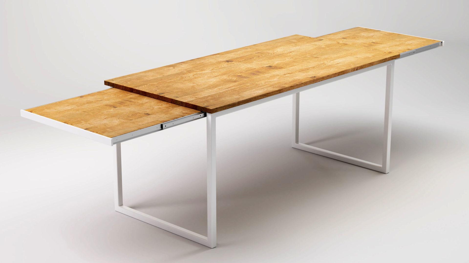Stół rozkładany do jadalni z drewnianym blatem na prowadnicach.