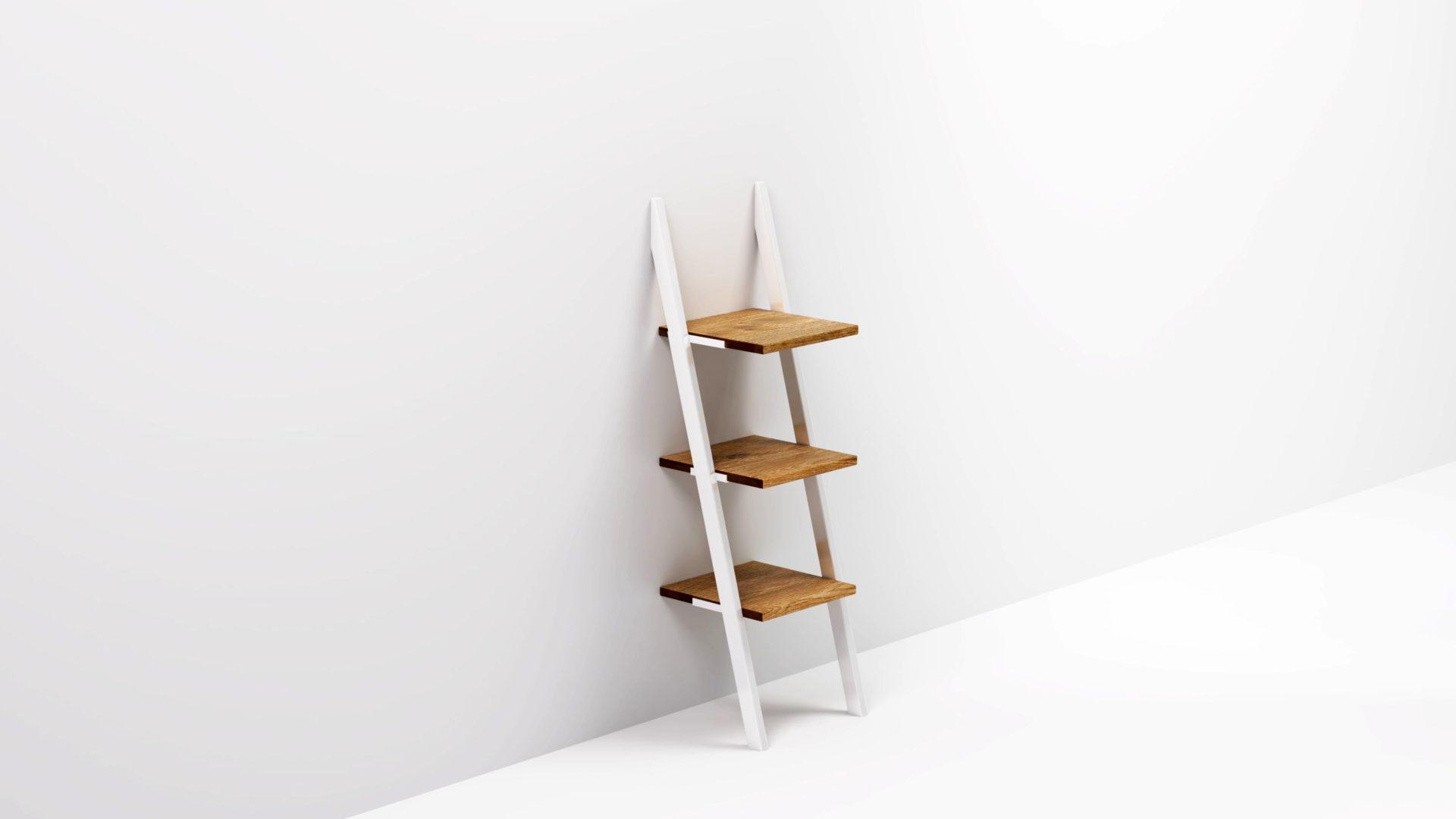 NANI to niewielka półka stojąca z konstrukcją typu drabina. Metalowy stelaż pod kątem opiera się o ścianę przypominając małą drabinkę.