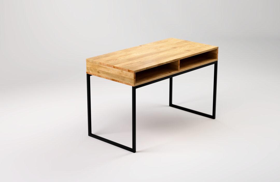 Biurko w stylu industrialnym Light Bläck. Biurko z półką pod blatem zapewnia wygodne miejsce na odłożenie tabletu lub laptopa kiedy nie są potrzebne.