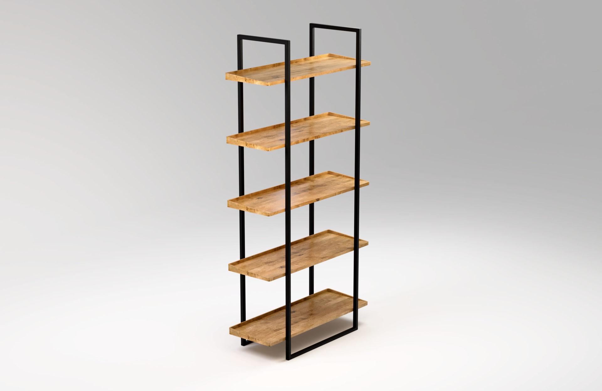 Regał na książki z metalową konstrukcją i drewnianymi półkami w nowoczesnym stylu industrialnym. Ażurowa półka NIVÅ w kolorze czarnym.