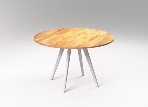 Okrągły derniany stół do jadalni MÅNE. Wykonany ręcznie polski produkt.