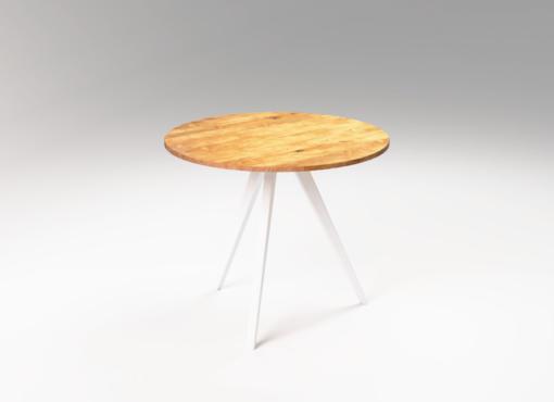 Drewniany stół okrągły MÅNE. Nowoczesne wnętrze w skandynawskim stylu. Stół ręcznie robiony z drewna dębowego.